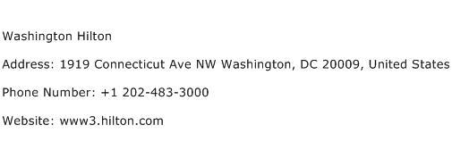 Washington Hilton Address Contact Number