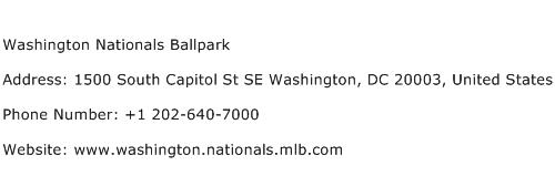 Washington Nationals Ballpark Address Contact Number