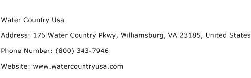Water Country Usa Address Contact Number