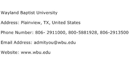 Wayland Baptist University Address Contact Number