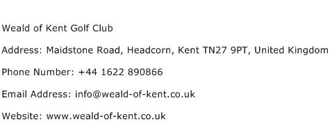 Weald of Kent Golf Club Address Contact Number