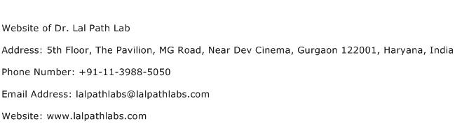 Website of Dr. Lal Path Lab Address Contact Number