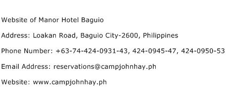Website of Manor Hotel Baguio Address Contact Number