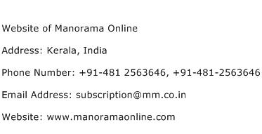Website of Manorama Online Address Contact Number