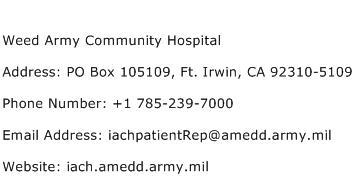 Weed Army Community Hospital Address Contact Number