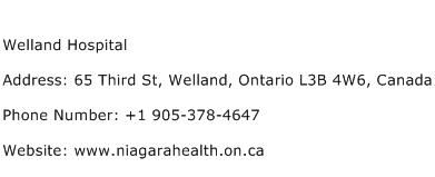 Welland Hospital Address Contact Number