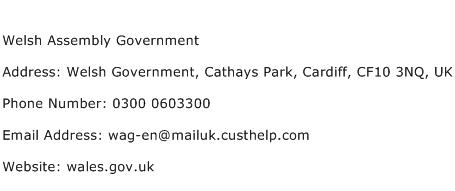 Welsh Assembly Government Address Contact Number