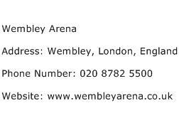 Wembley Arena Address Contact Number