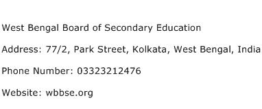 West Bengal Board of Secondary Education Address Contact Number
