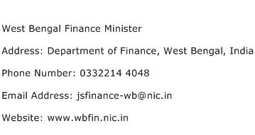 West Bengal Finance Minister Address Contact Number