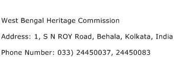 West Bengal Heritage Commission Address Contact Number