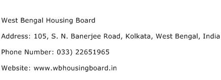 West Bengal Housing Board Address Contact Number