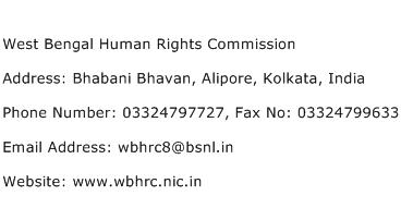 West Bengal Human Rights Commission Address Contact Number