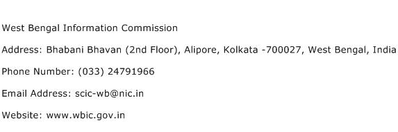 West Bengal Information Commission Address Contact Number