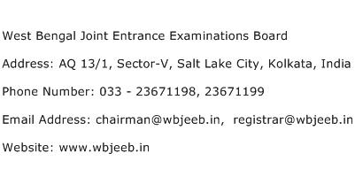 West Bengal Joint Entrance Examinations Board Address Contact Number