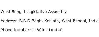 West Bengal Legislative Assembly Address Contact Number