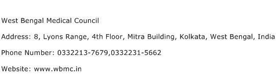 West Bengal Medical Council Address Contact Number
