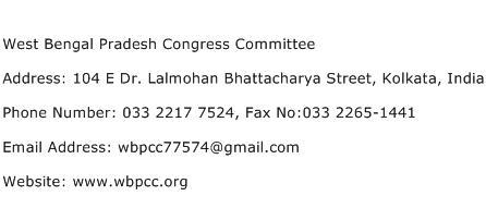 West Bengal Pradesh Congress Committee Address Contact Number