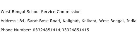 West Bengal School Service Commission Address Contact Number