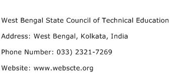 West Bengal State Council of Technical Education Address Contact Number