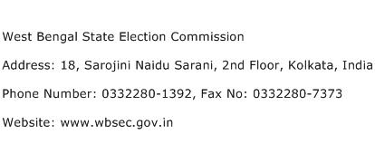West Bengal State Election Commission Address Contact Number
