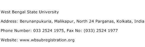 West Bengal State University Address Contact Number