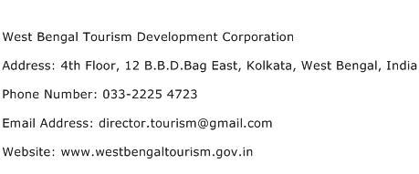 West Bengal Tourism Development Corporation Address Contact Number