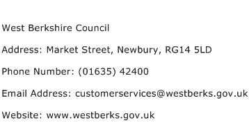 West Berkshire Council Address Contact Number