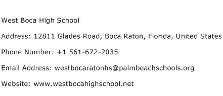 West Boca High School Address Contact Number
