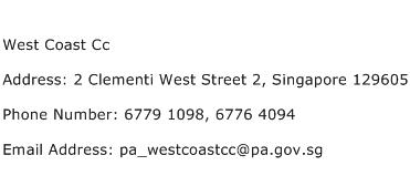 West Coast Cc Address Contact Number