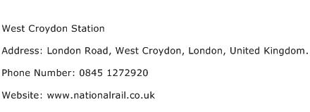 West Croydon Station Address Contact Number