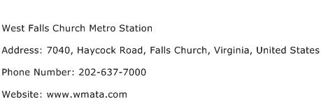 West Falls Church Metro Station Address Contact Number