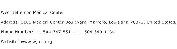 West Jefferson Medical Center Address Contact Number