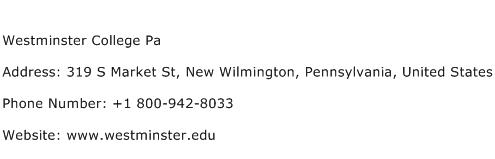 Westminster College Pa Address Contact Number