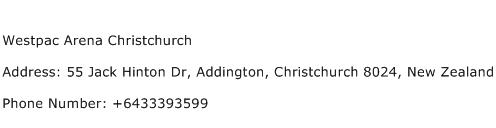 Westpac Arena Christchurch Address Contact Number