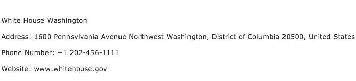 White House Washington Address Contact Number