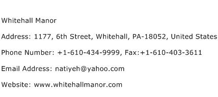 Whitehall Manor Address Contact Number