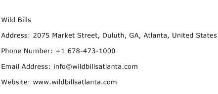 Wild Bills Address Contact Number