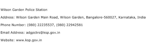 Wilson Garden Police Station Address Contact Number