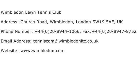 Wimbledon Lawn Tennis Club Address Contact Number