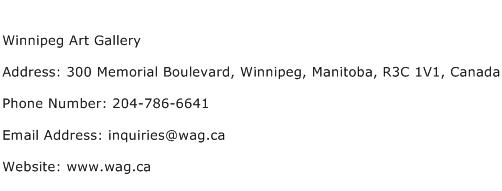 Winnipeg Art Gallery Address Contact Number