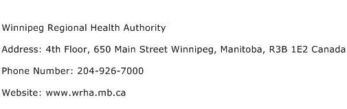 Winnipeg Regional Health Authority Address Contact Number