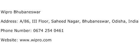 Wipro Bhubaneswar Address Contact Number