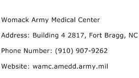 Womack Army Medical Center Address Contact Number