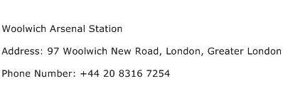 Woolwich Arsenal Station Address Contact Number