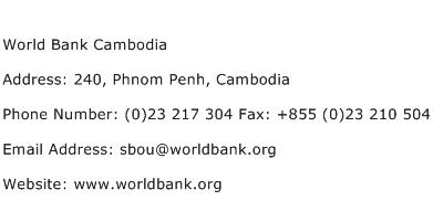 World Bank Cambodia Address Contact Number