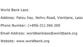 World Bank Laos Address Contact Number