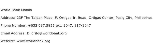 World Bank Manila Address Contact Number
