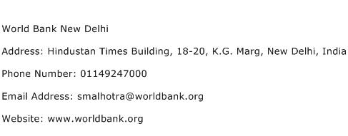 World Bank New Delhi Address Contact Number