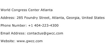 World Congress Center Atlanta Address Contact Number